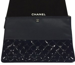 Chanel Dark Blue Navy O Case Large Clutch Wallet Pouch