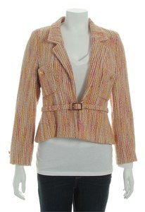 Chanel Pink Ch.ej0306.14 Wool Orange Jacket