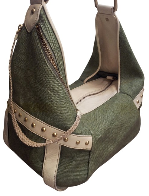 Item - New York Sloutch Green/White Canvas/Leather Hobo Bag