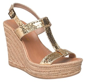 Delman Wedge Sandal Raffia Gold Platforms