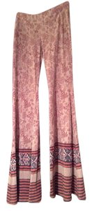 Free People Flare Pants Blues reds grey groovy pattern