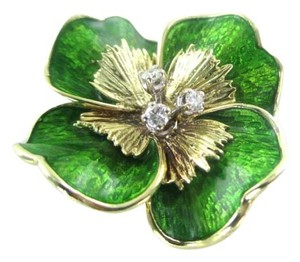 martine 14KT SOLID YELLOW GOLD PIN FLOWER 3 GENUINE DIAMONDS .20 CARAT 13 CARAT MARTINE