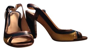 Cole Haan Teal,tan patent leather with mustard yellow suede Pumps