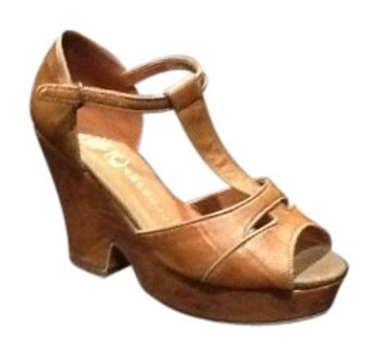 Jeffrey Campbell T-strap Sandal Brown Wedges