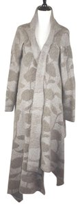 Armani Collezioni Beige Brown Virgin Wool Floral Coat Jacket Sweater Cardigan