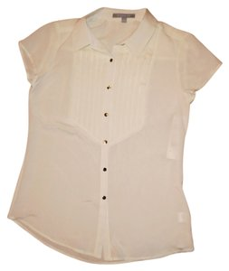 NY Collection Button-up Silver Polyester Fancy Career Button Down Shirt Ivory
