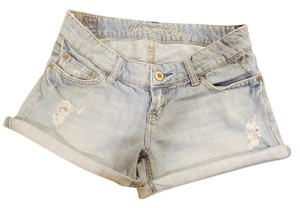 American Eagle Outfitters Short Cuffed Cuffed Shorts Light Blue Distressed