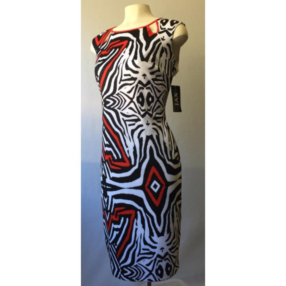 Jax black white red zinnia cap sleeve stretch sheath knee length 1234567 ombrellifo Gallery