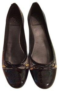 Tory Burch Black & Smoke Snake Print Flats