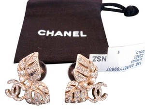 Chanel CHANEL Gold Plate and Crystal CC Logo Earrings