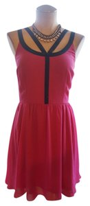 LC Lauren Conrad short dress Navy/Fuchsia Contrast Color-blocking on Tradesy
