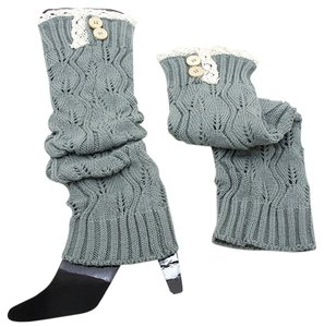 Other Gray Sweater Knitted Lace Top Button Down Leg Warmer Boot Socks Boot Topper