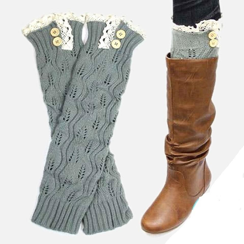 531878672 Gray and Beige Sweater Knitted Lace Top Button Down Leg Warmer Boot ...