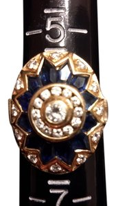 18k yellow gold diamond sapphire 18k diamond and blue sapphie