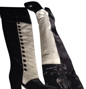 Chanel black and white Boots
