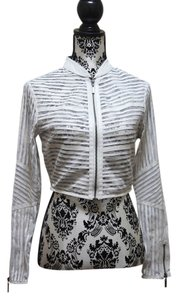 bebe Chevron Leather Mesh White Leather Jacket