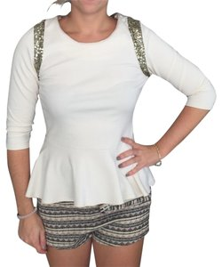 Forever 21 Work Business Party Dinner Meeting Top Ivory with gold sequins around shoulder area