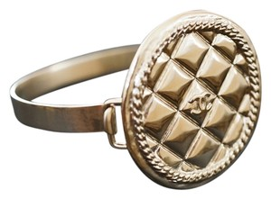 Chanel Chanel Gold Metal Quilted Medalian Cuff Bracelet
