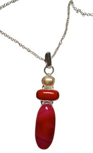 Other Pink Agate, Pearl & Corral Gemstone Pendant Necklace J1293