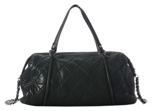 Chanel Black Boston Ch.h1209.10 Quilted Leather Satchel