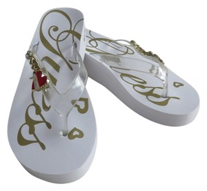 Guess Gold Rhinestone White Sandals