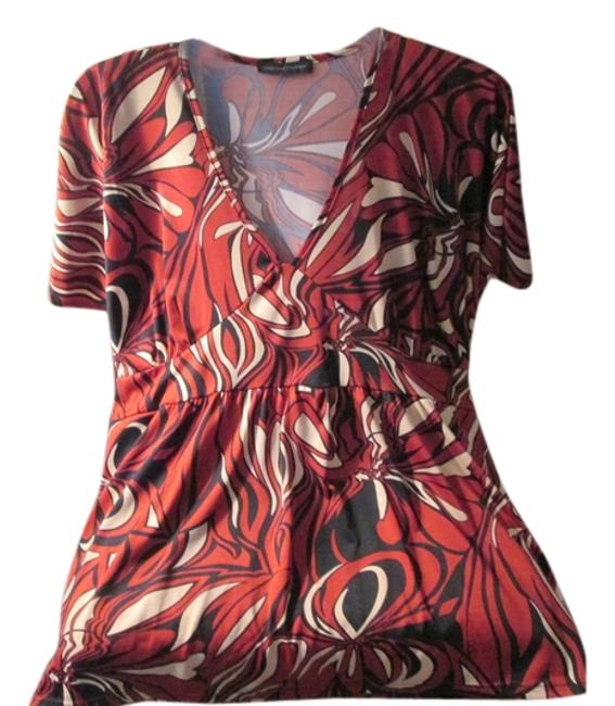 Item - Maroon and Black Design Like New No Tags Blouse Size 22 (Plus 2x)