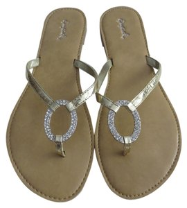 Qupid Embellished Rhinestone Metallic Gold Sandals