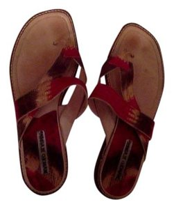 Manolo Blahnik red yellow brown Sandals