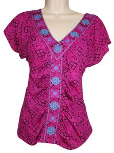 INC International Concepts Top Fuschia Pink, Turquoise Blue & Black