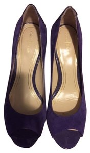 Cole Haan Nike Air Open Toe Patent Suede Heels Cocktail Leather purple Pumps