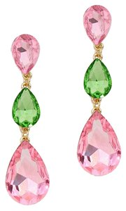 New With Tags Beautiful Pink & Green Swarovski Crystal Pierced Earrings Triple Tear Drop