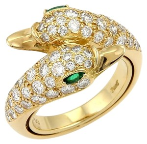 Piaget 15635 - Piaget 18k Yellow Gold 1.70ct Diamonds & Emerald Swan Bypass Ring-Size 4.75