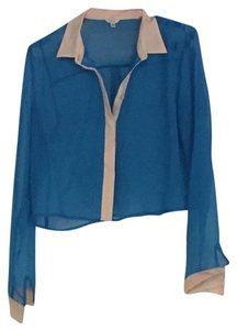 I Love H81 Button Up Sheer Party Button Down Shirt blue with beige hints