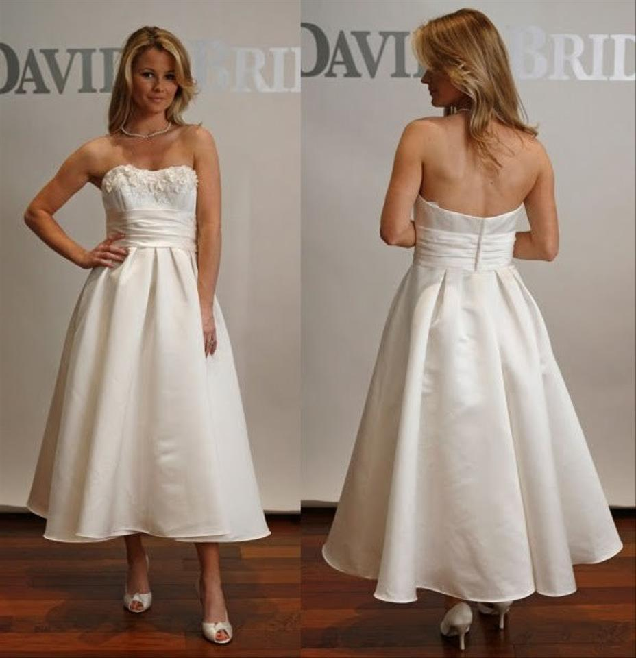 David S Bridal Wedding Gowns: David's Bridal Tea-length Satin Gown With 3d Floral