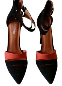 Jeffrey Campbell black suede and orange Pumps