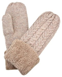 Khaki Knitted Wool Lined Mittens