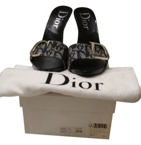 Dior Monogram Summer Logo navy, black and white Mules
