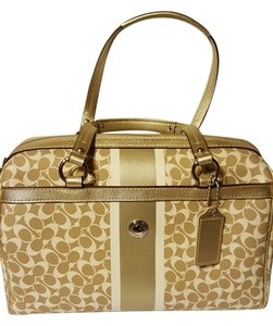 Coach Satchel in tan with white and gold