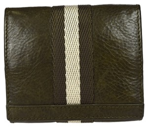Bally Authentic BALLY Bifold Wallet Purse Coin Case Leather Khaki Switzerland 06A033