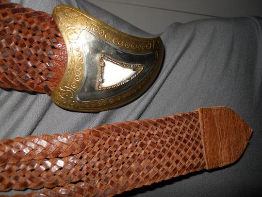 Chico's wide woven distressed leather