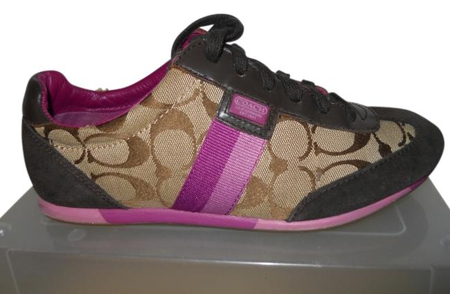 Item - Brown Tan & Purple Joss Signature Fabric Sneakers Size US 8 Regular (M, B)
