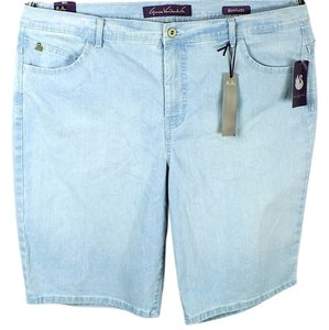 Gloria Vanderbilt Plus Size Fashions Embroidered Light Blue Wash Denim Bermuda Shorts