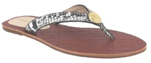 Tommy Bahama Snake Leather Flip Flop Grey Flats