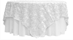 1 X Rosette Satin Table Overlay Topper 85