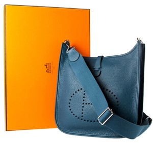 Hermès Evelyne Blue Pm Clemence Shoulder Bag