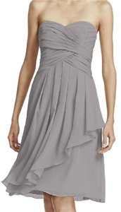 David's Bridal Mercury David's Bridal Short Crinkle Chiffon Dress With Front Cascade Style F1 Dress