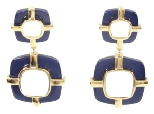 Tory Burch Tory Burch Audrey Drop Earrings Gold Plated Navy Blue NEW WITH TAGS