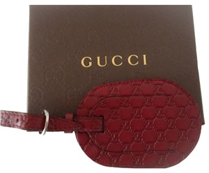 Gucci NIB Gucci Burgundy Red Leather Guccissima GG Logo Luggage Travel ID Tag