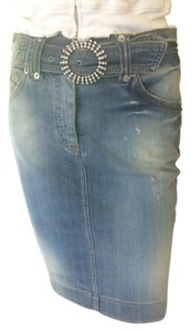 Dolce&Gabbana Crystal Embellishment Logo Label Back Slit Skirt denim