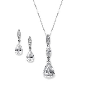 Mariell Silver 2030s with Pave Top Cubic Zirconia Pears Necklace